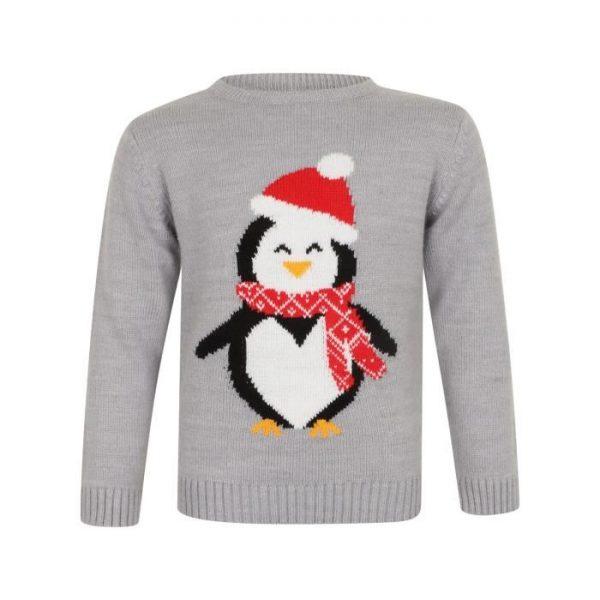 Pull de Noël Pingouin Gris Chiné Enfant Fille