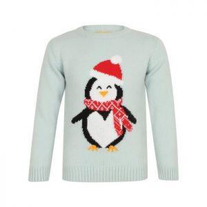 Pull de Noël Pingouin Bleu Ciel Chiné Enfant Fille