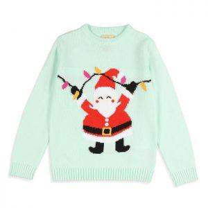 Pull de Noël Père Noël Vert d'Eau Enfant Fille