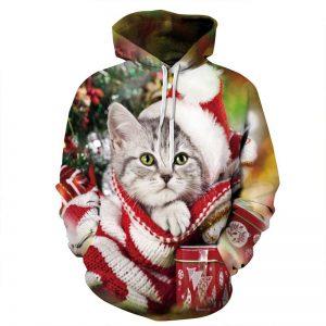Sweatshirt Femme Homme Motif 3d Chat Fête Noel Mignon Pull à Capuche Manche Longue Chaud Hiver M L Xl XXL