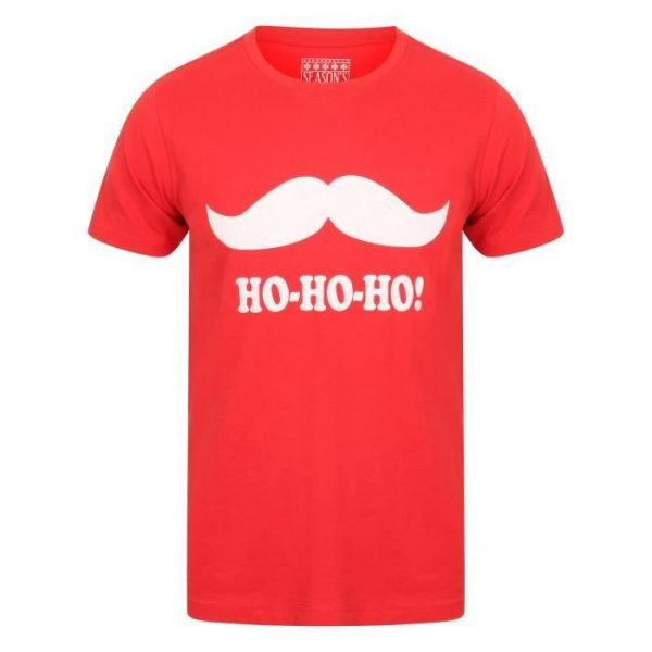 SEASONS GREETINGS T-shirt Noël Moustache Rouge Homme