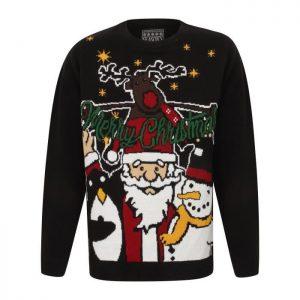 SEASON'S GREETINGS Pull de Noël Père Noël Noir Enfant Garçon
