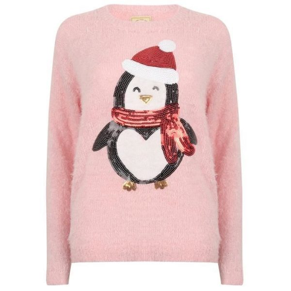 MERRY CHRISTMAS Pull de Noël Pingouin Rose Femme