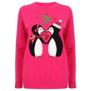 Pull de Noël Pingouins Rose Femme