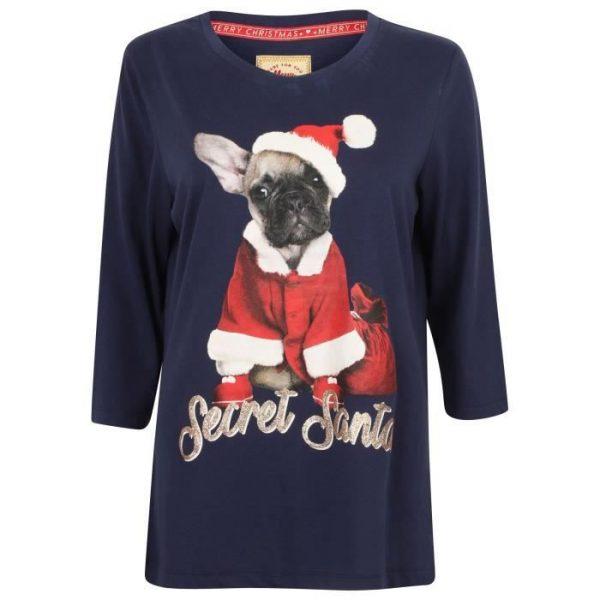 T-shirt de Noël Frenchy Bleu Femme