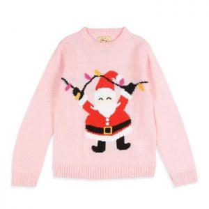 MERRY CHRISTMAS Pull de Noël Père Noël Rose Enfant Fille