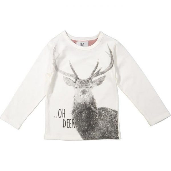 KOKO NOKO T-shirt Noël Motif Cerf Beige Écru Enfant Fille