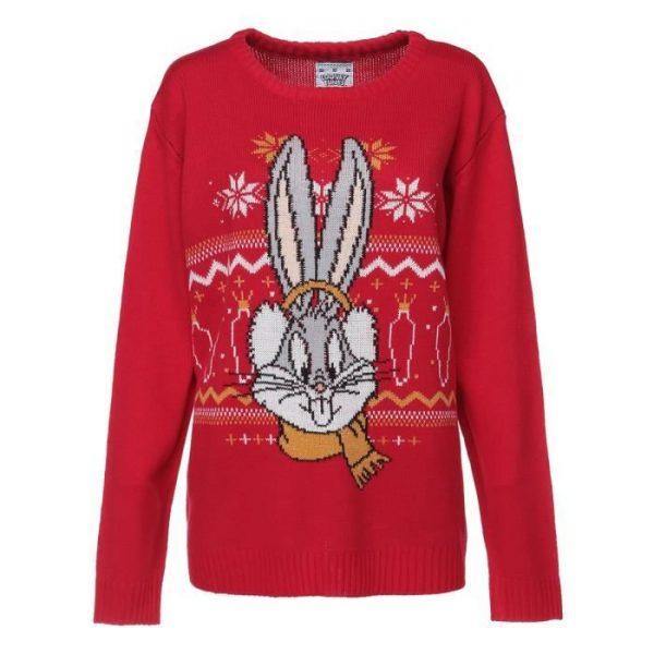 LOONEY TUNES Pull de Noël Bugs Bunny Rouge Femme