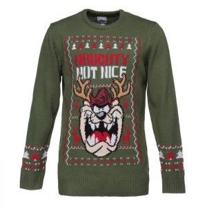 LOONEY TUNES Pull de Noël Tricoté Vert Kaki Homme